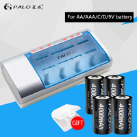 PALO multifunctional Definite Time Battery Charger For Nimh Nicd AA/AAA/C/D/9V Rechargeable Batteries+4pcs C Size Hot Batteries