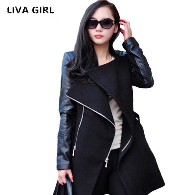 Trench Coat 2017 Spring Autumn Korean Slim Double-Breasted Coat Pure color Female Retro Casual Coat Plus Size 4xl women top