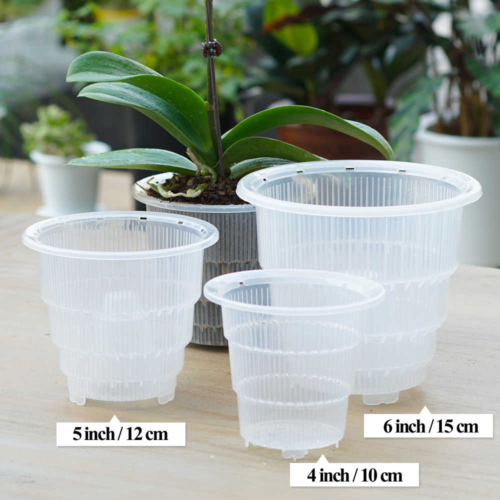 AliExpress & Meshpot 4 5 6 Inches Plastic Clear Orchid Pot With HolesFlower Pot Planter Orchid Container Planter Garden Pot Planter