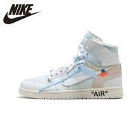 Nike Official Air Jordan 1 X Off white Men's Basketball Shoes Outdoor Anti slip Aj1 Sports Sneakers# AQ0818 100