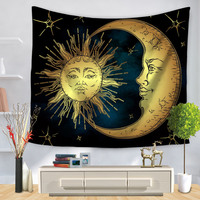 Celestial Indian Bohemian Sun Moon Tapestry Wall Hanging Polyester Mandala Decor Tapestries Cloth Bedspreads Living Room Decor