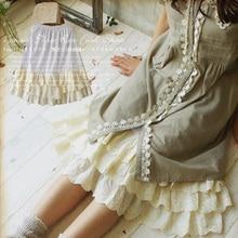 Harajuku Mori Girl Solid White Underskirt Beige Lace Multi-Layer Petticoat Skirt