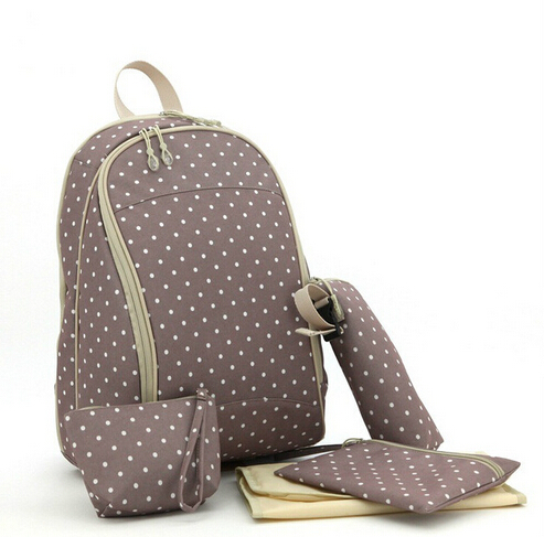 Baby nappy bag backpack polka dot diaper bag back waterproof nappy changing set washable Maternity bag for baby Outdoor travel cute baby protable nappy reusable washable wet dry cloth zipper waterproof diaper storage bag random colors