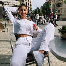 Hugcitar high waist wide leg zipper loose leggings 2018 autumn winter women new fashion white solid female pants