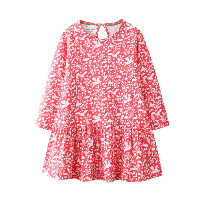 Jumping Meters New Brand Apple Long Sleeve Dresses For Baby Girls Clothing Cotton Autumn Spring Princess Party Cute Girl Dresses in Dresses from Mother Kids