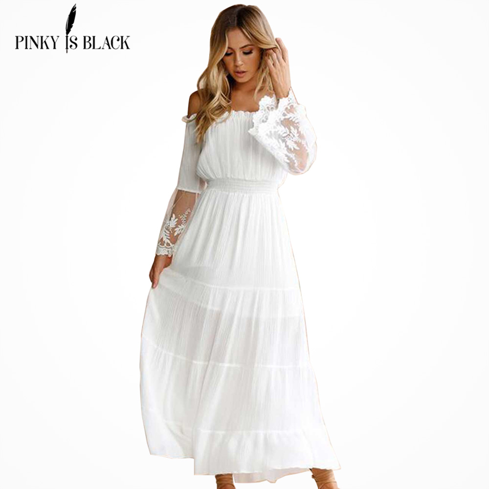 0d62ee8da01c PinkyIsBlack Summer Dress 2019 Sexy Women Boho Style Off shoulder Maxi Dress  Flare Sleeve White Lace Spliced Dress Vestidos-in Dresses from Women's  Clothing ...