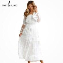 PinkyIsBlack Summer Dress 2019 Sexy Women Boho Style Off shoulder Maxi Dress Flare Sleeve White Lace Spliced Dress Vestidos dolman sleeve lace spliced popover dress