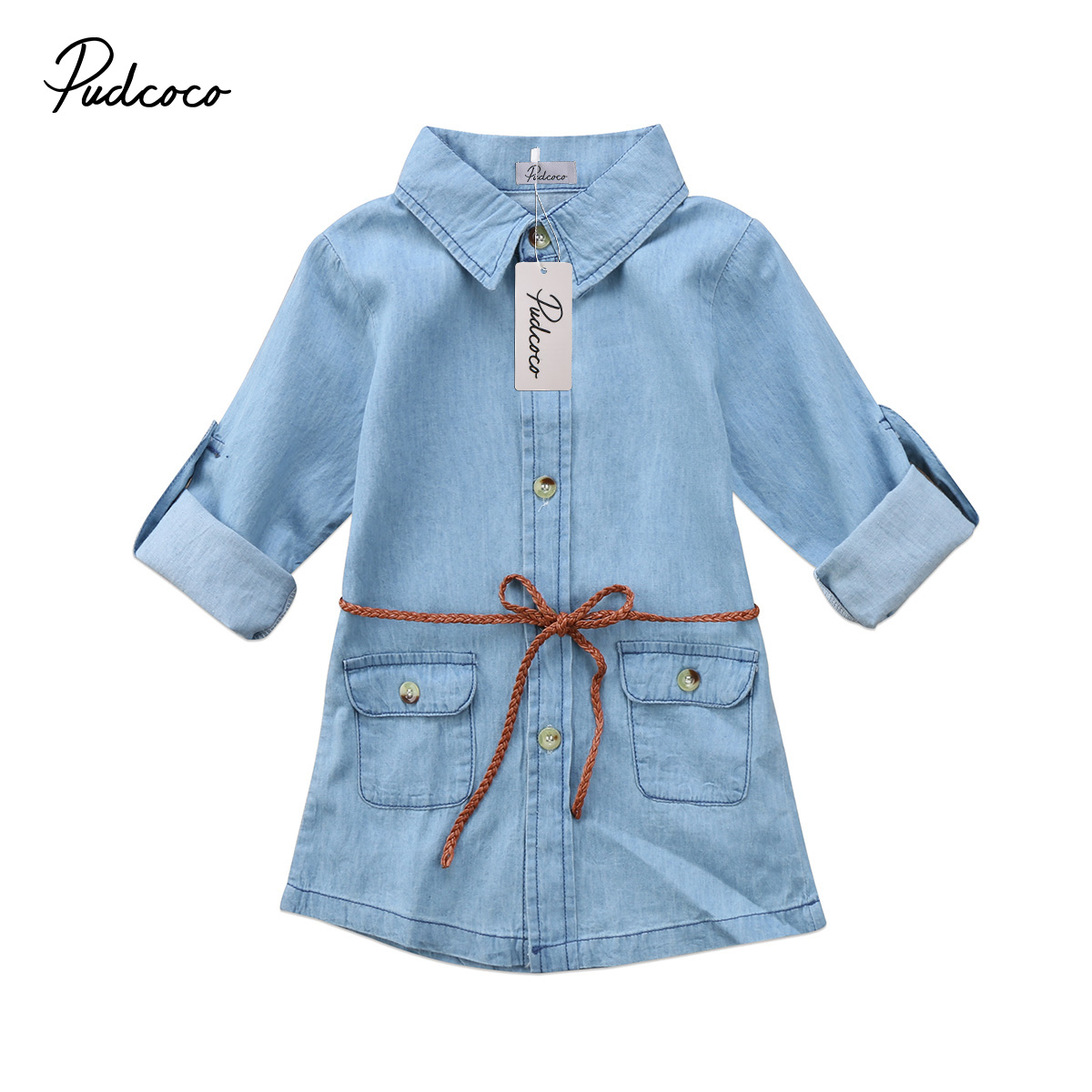 2018 Brand New Infant Child Kids Girl Denim Dress Jeans Pocket Long Sleeve T-shirt Loose Shirt Mini Dress Fashion Clothes 2-7T luxury good quality new fashion women zipper jumpsuit slim fit skinny jeans rompers pocket denim jumpsuits size sexy girl casual