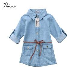 2018 nova marca infantil criança crianças menina denim vestido jeans bolso manga longa camisa solta mini vestido roupas de moda 2-7 t