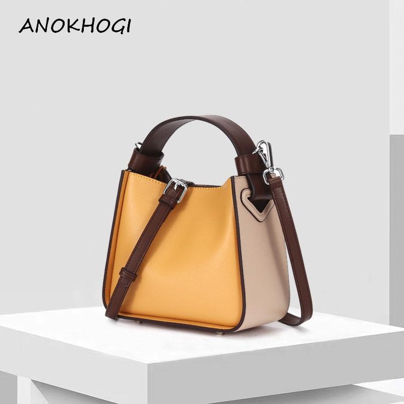 2019 Real Genuine Leather Handbag For Woman Hit Color Composite Crossbody Bags Bucket Female Shoulder Messenger Bag B416