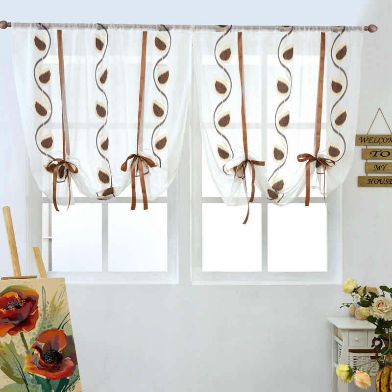 Short curtains  kitchen door roman blinds voile fabrics red black cafe curtain home textile window treatments rod pocket floral