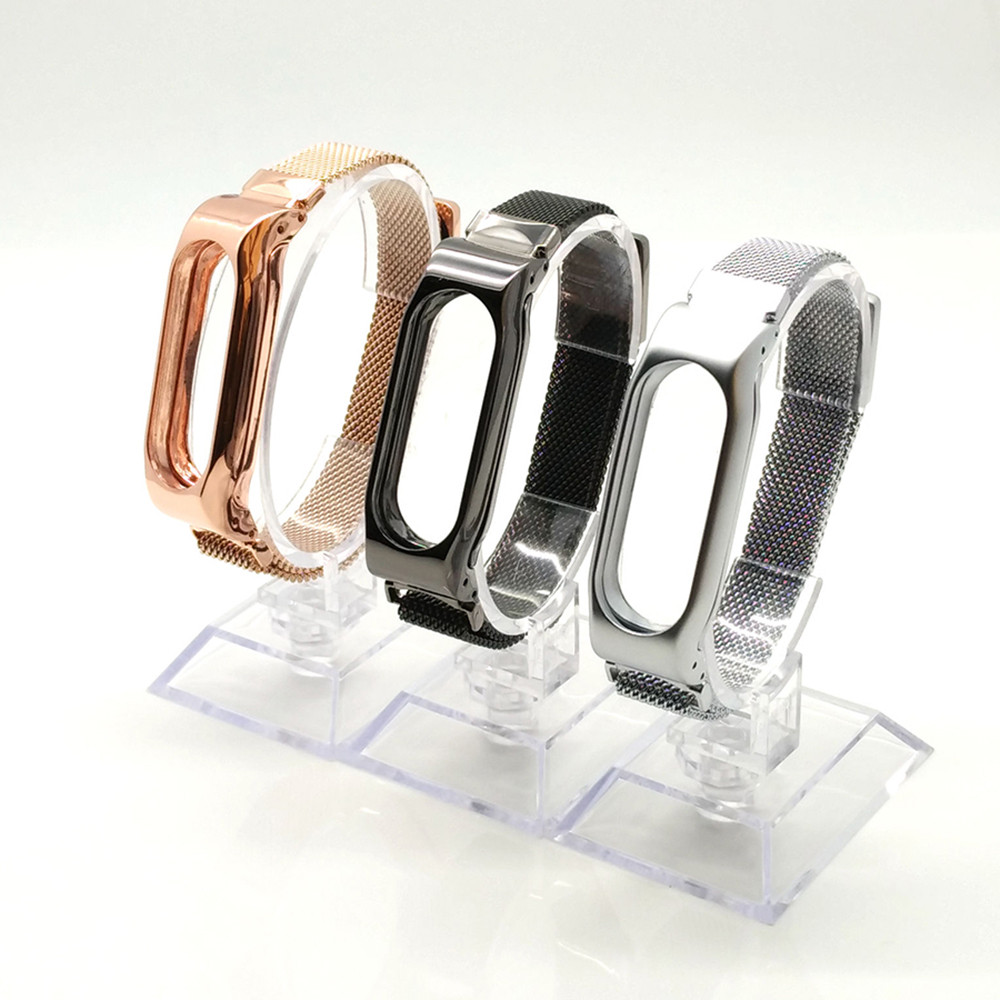 Luxury Milanese Loop Strap For Xiaomi Mi Band 2 Screwless Stainless Steel Bracelet Smart Band Replace Accessories For Mi Band 2 3