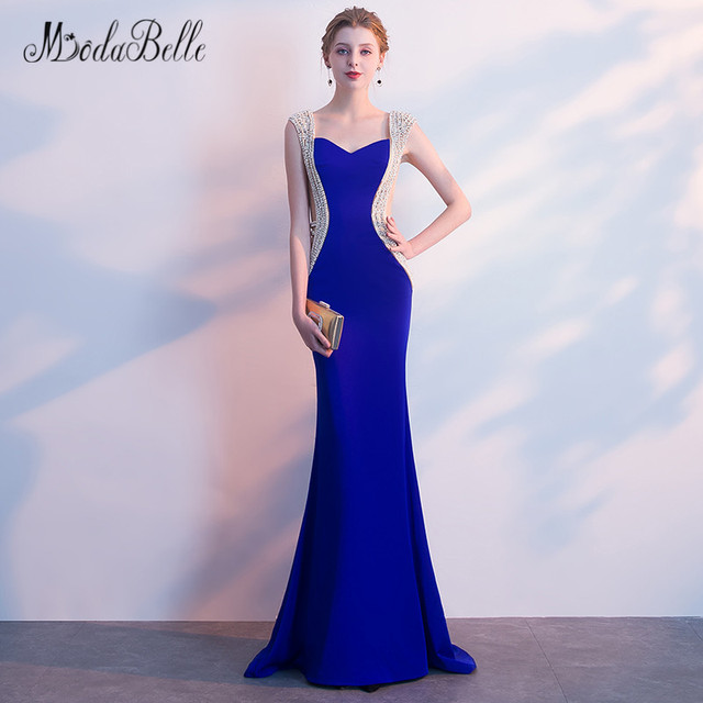 85d63a7e9a8 modabelle Mermaid Pearl Long Prom Dresses Blue 2018 Sexy See Through Beaded  Special Occasion Dress Evening Gowns For Women