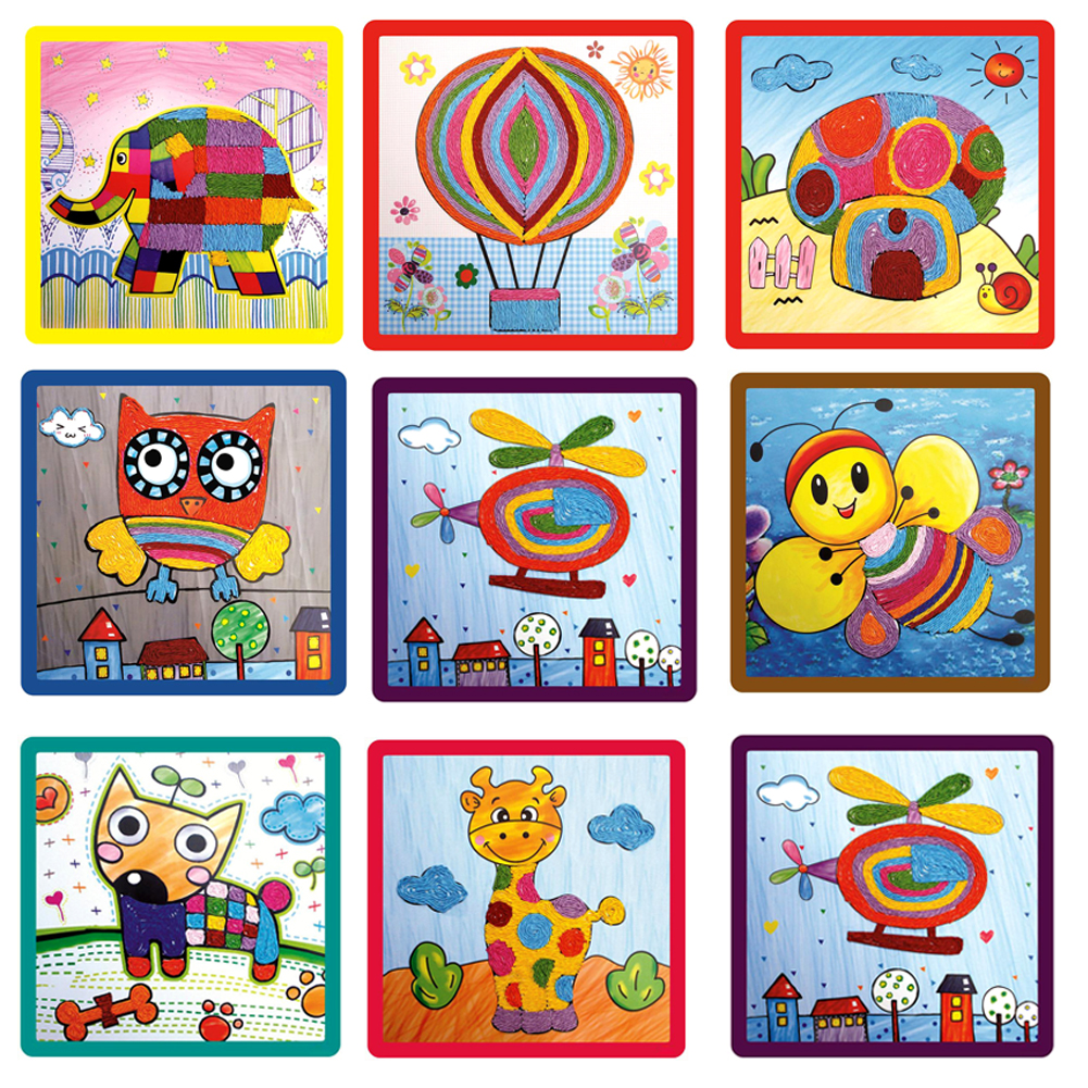 Craft sets for kids - Children Diy Drawing Toy Paper Kindergarten Rope Paste Painting Toy Creative Diy Handmade Crafts Toy For