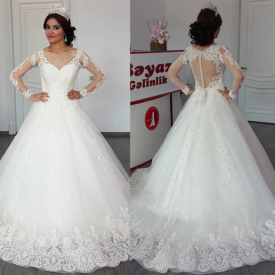 Delicate Tulle V neck Neckline A line Wedding Dress With Lace Appliques Long Sleeves Open Back