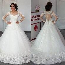 Delicado tule decote em v decote a linha vestido de casamento com apliques de renda mangas compridas aberto voltar vestidos de noiva