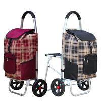 Large Size Aluminum Alloy Shopping Cart with Oxford Cloth Bag High Quality Foldable Luggage Climbing Cart With Seat 8 Wheel