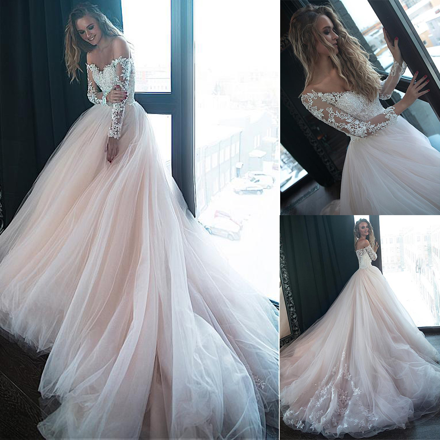 Gorgeous Tulle Off-the-shoulder Neckline Ball Gown Wedding Dresses With Beaded Lace Appliques Nude Bridal Gowns