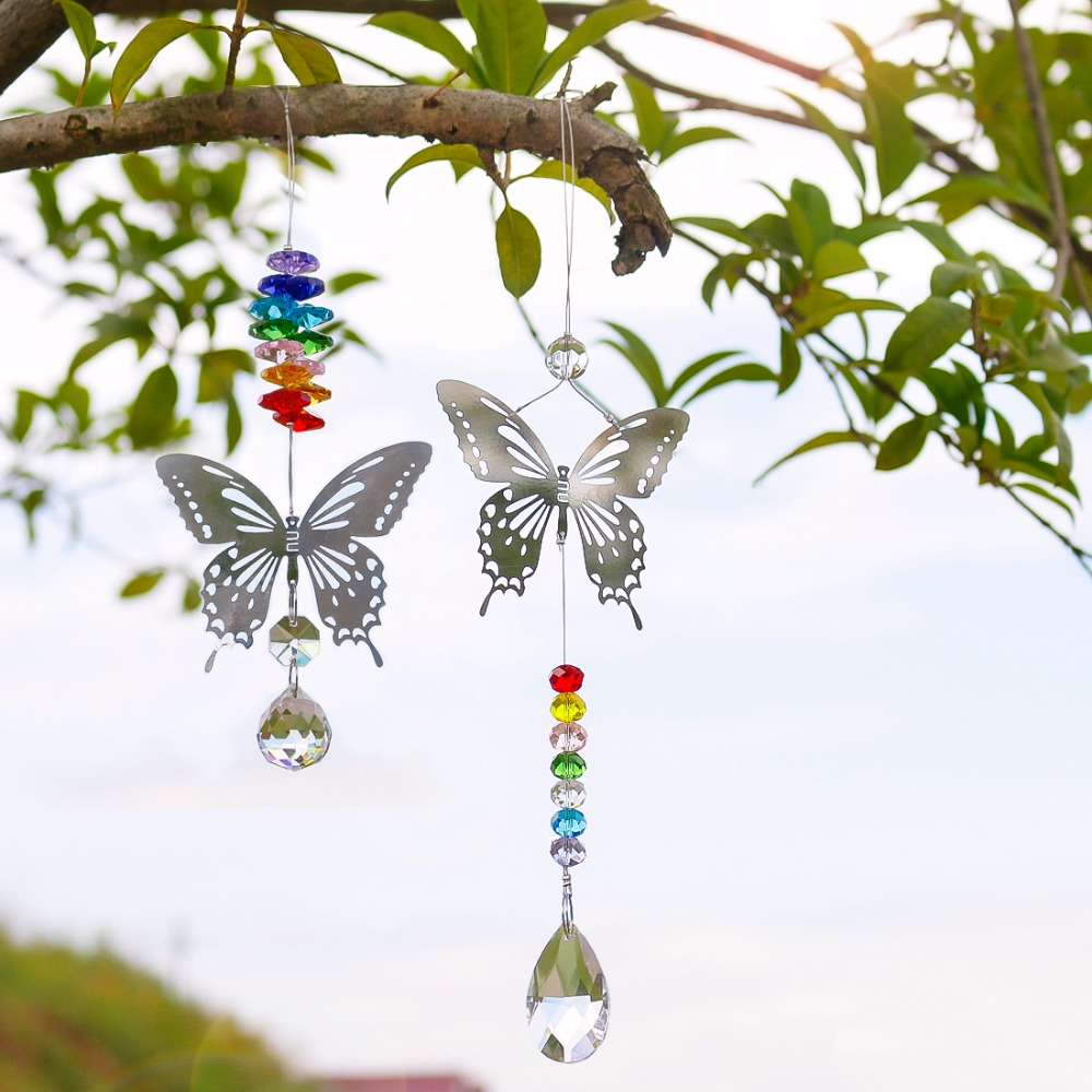 H&D 20mm/38mm Handmade Chakra Butterfly Suncatcher Crystal Ball Prisms Rainbow Maker Window Hanging Ornament Home Wedding Decor