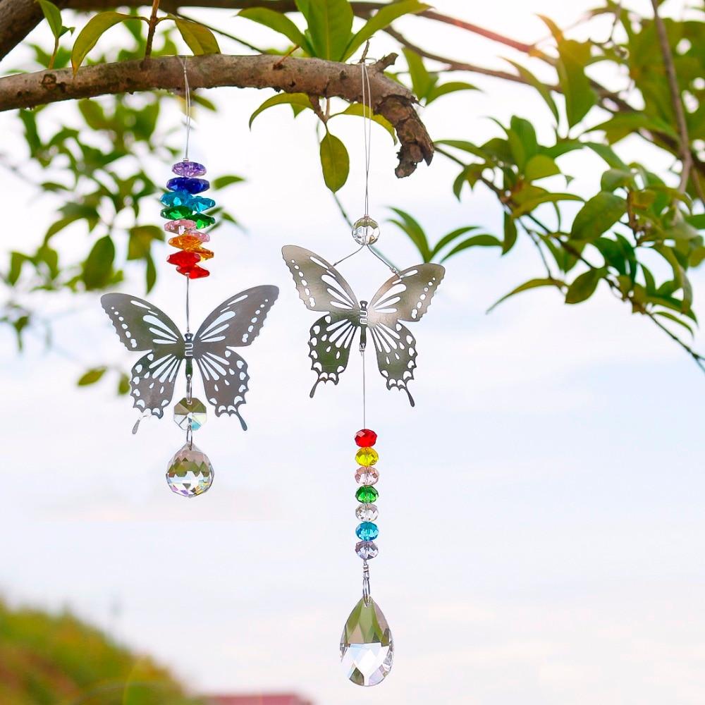 H & D 20mm/38mm Handmade Della Farfalla di trasporto Sfera di Cristallo Prisma Arcobaleno Maker Appeso Suncatcher Ornamento