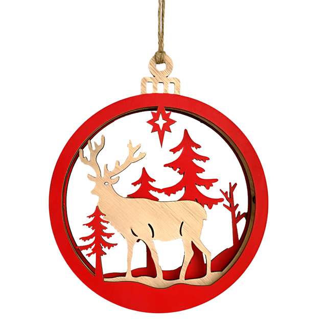 large wooden 3d pendant durable couples reindeer light bulb hanging decor supplies for christmas decorating wall