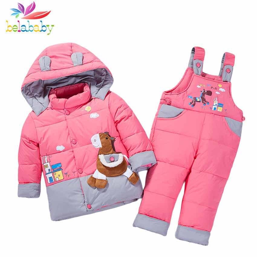 Belababy ensembles de vêtements pour bébé garçon fille vêtements hiver manteau Snowsuit canard doudoune filles tenues neige porter salopette à capuche