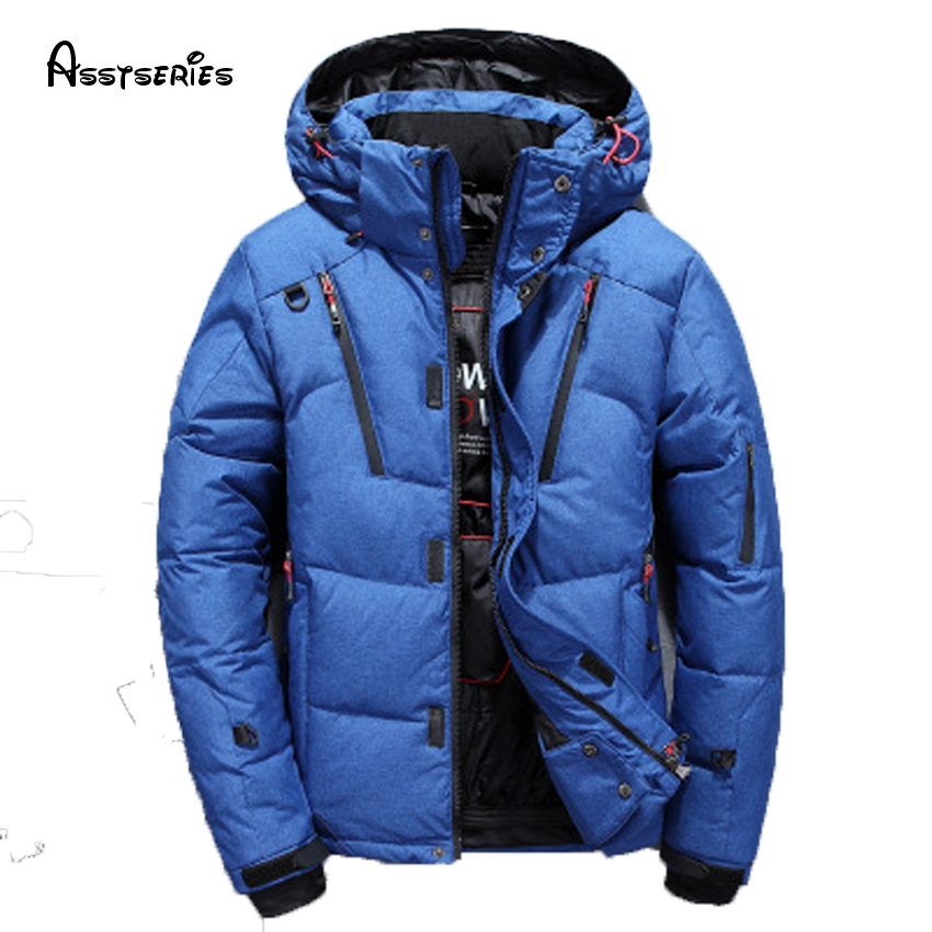 free shipping mans winter down jacket casual warm jacket men white duck down men solid mens winter coat h260