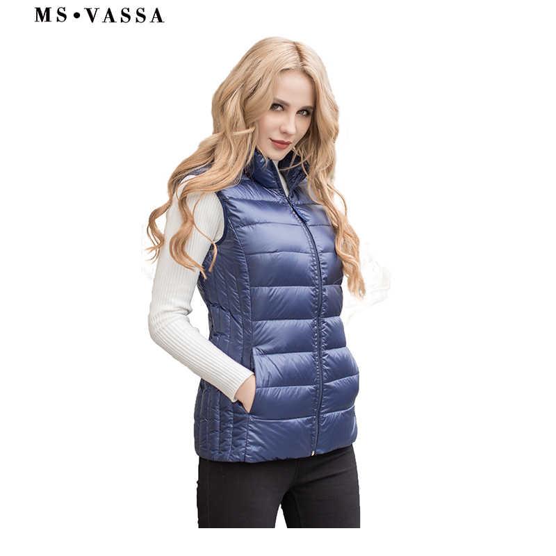 MS VASSA phụ nữ vest Mùa Xuân ánh sáng xuống phụ nữ vest cộng với hơn kích thước S-7XL quilting vest cánh cổ áo màu xanh màu cao chất lượng vest