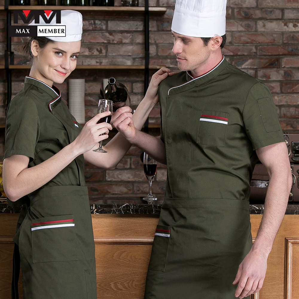 2019 Hot Sale Hotel Workwear Summer Hot Waitress Restaurant Teahouse Hotel Kitchen Cook New Suit Men Women Catering Chef Uniform