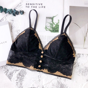 Image 3 - Wriufred Bralette bordado de encaje para mujer, triangular Sujetador de copa, ropa interior transpirable sin aros, lencería de talla grande con botones