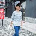 Spring New Children 'S Clothing, 2017 New Beaded Fringed Long - Sleeved Round Neck Korean Cotton Solid Color Girls T - Shirts