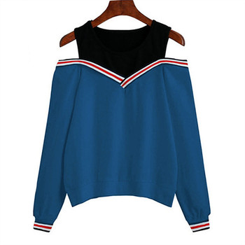2019 Striped Off Shoulder women Hoodies Pullovers Casual Lady Autumn Long Sleeve Sweatshirt Jumper Solid Tops Sudaderas Mujer