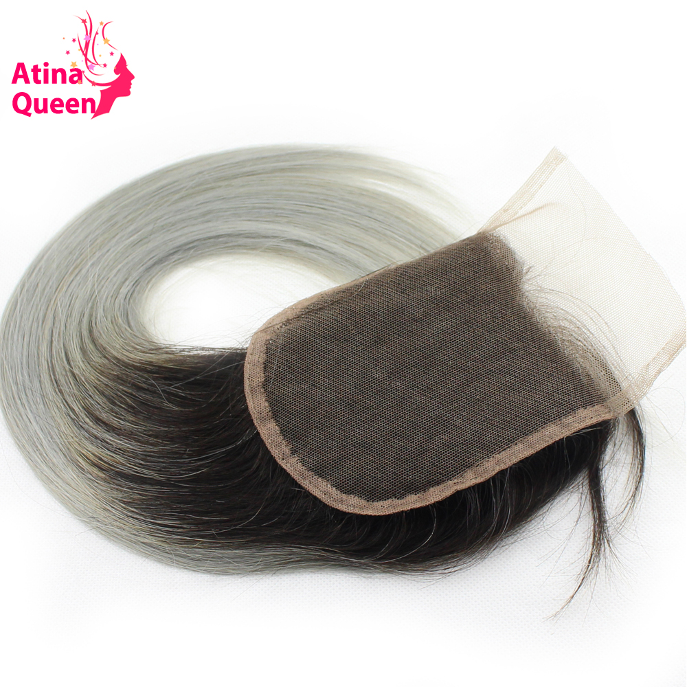 Atina Queen 1B Grey Straight 4 4 Lace Closure With Baby Hair Dark Roots Gray Color