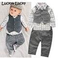 Новый baby boy одежда клетчатую рубашку с жилет новорожденный одежда с брюки baby boy одежда