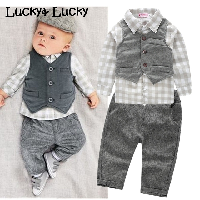 New baby boy clothes plaid shirt with vest newborn clothing with pants baby boy clothes