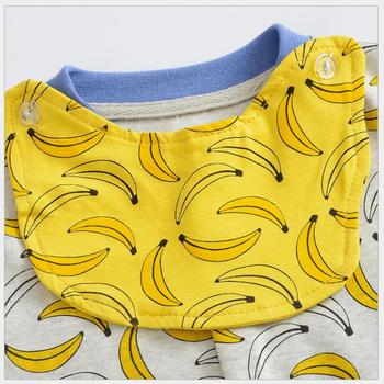 wuawua brand organic cotton fabric one piece baby boy romper infant clothing twins baby overalls cute banana pattern jumpsuit
