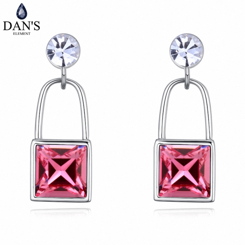 DANS 4 Colors Real Austrian crystals Stud earrings for women Earrings s New Sale Hot Round 128030