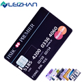 Leizhan personalizado usb cartão de crédito vara 32g 16g 8g 4g 64g Computador Personalizado USB Pen Drive Pendrives HSBC Visa Imprimir logotipo