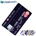 Leizhan tarjeta de crédito personalizada usb stick 32g 16g 8g 4g 64g Ordenador Personalizado USB Pen Drive Pendrives HSBC Visa de Impresión Logo