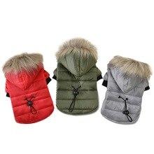 Hoomall, пальто для собак, хлопок, зимняя теплая одежда для маленьких собак, для чихуахуа, мягкий меховой капюшон, куртка для щенков, одежда для собак, 5 размеров