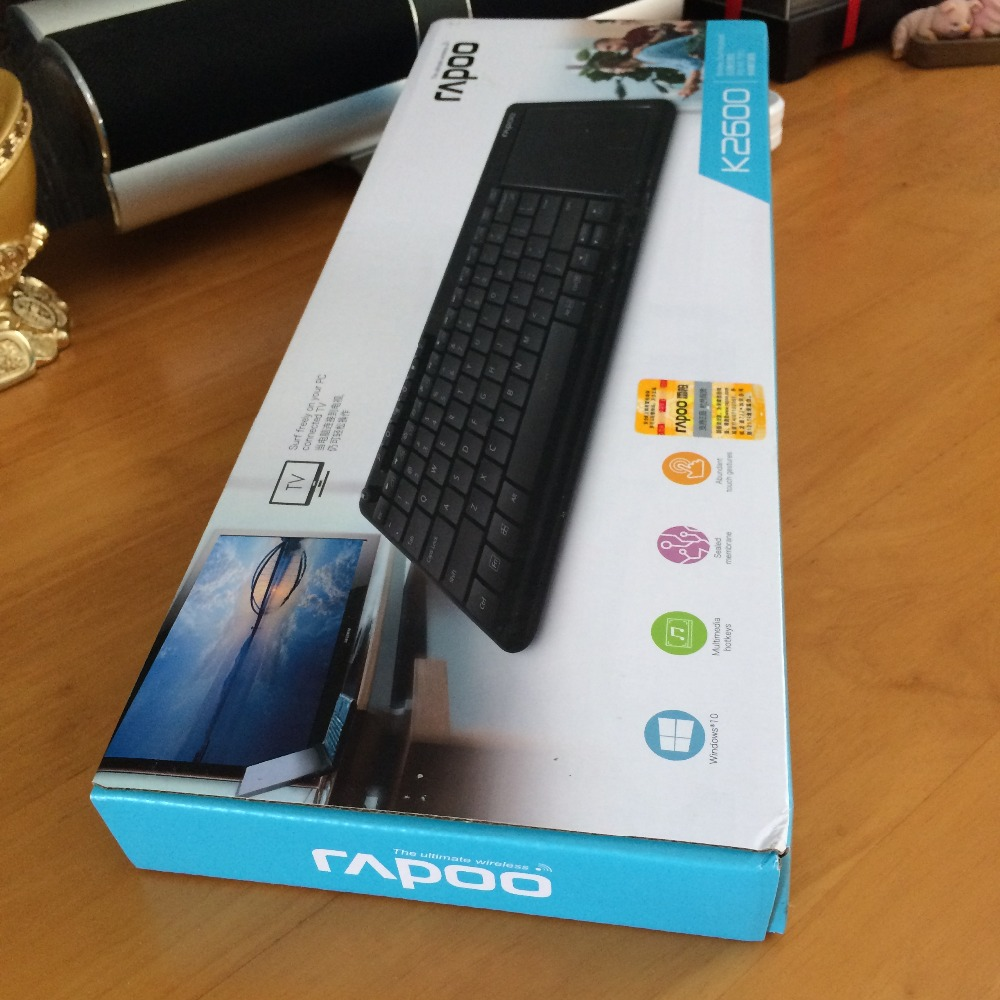 Original Rapoo K2600 ultra slim 2.4Ghz RF mini wireless keyboard with touchpad mouse for PC HTPC Tablet Android TV Box