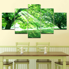 цены на The green trees sunshine 5 piece Wallpapers modern Modular Poster art Canvas painting for Living Room Home Decor  в интернет-магазинах