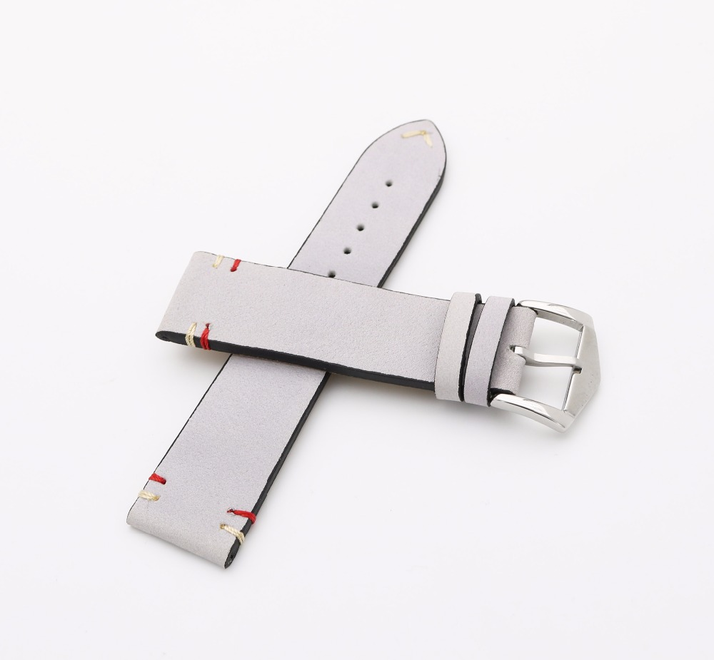 20 22mm New Luxury Men Woman Real Cowhide Suede Leather Grey Gray VINTAGE Wrist Watch Band Strap Belt Silver Polish Pin Buckle