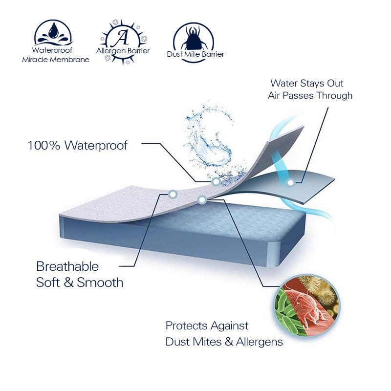 Halus Tahan Air Kasur Protector Cover untuk Bed Solid Putih Membasahi Bernapas Hypoallergenic Perlindungan Pad Cover Anti Kutu