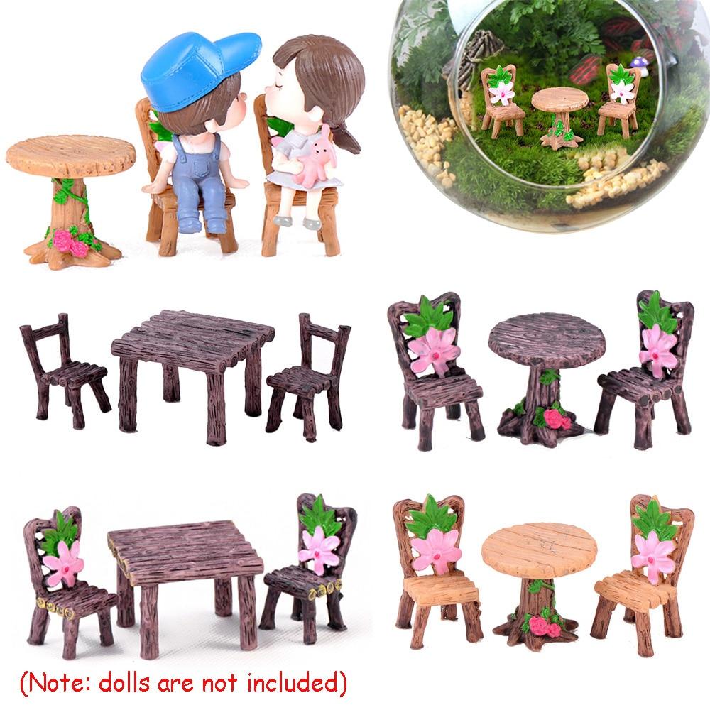 Frugal 3pcs/set Table Chair Resin Craft Micro Landscape Ornament Fairy Miniature Terrarium Figurine Bonsai Pot Home Garden Decoration We Have Won Praise From Customers Home
