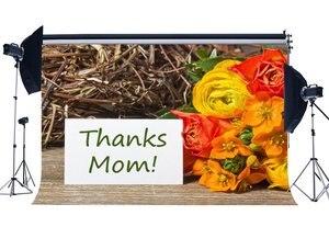 Image 1 - Fondo de Feliz Día de la madre gracias mamá telón de fondo de fotografía de tablón de madera rústica de flores de clavel frescas