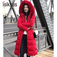 Isiksus Warm Winter Jacket Women Long Fur Hooded Plus Size Black Padded Parkas Down Jackets And Coats Parkas 4XL for Women WP010