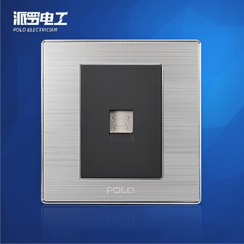 Free Shipping, POLO Luxury Wall Light Switch Panel, Telephone Socket, Champagne/Black, Electric Socket, 10A, 110~250V, 220V atlantic brand double tel socket luxury wall telephone outlet acrylic crystal mirror panel electrical jack