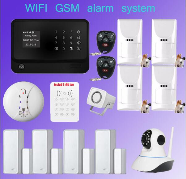 wifi alarm font b Security b font GSM GPRS Home alarm System APP Control wifi camera