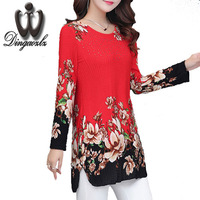 Dingaozlz Autumn 2017 Women Blouse Shirt Fashion Ladies Shirt Plus Size Clothing Casual Diamond Printed Female